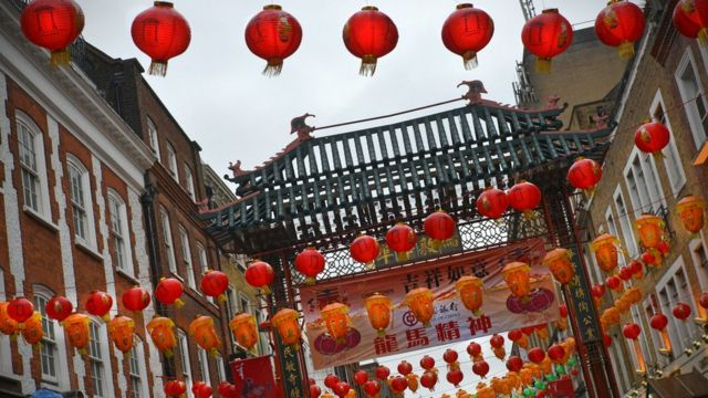 Linternas rojas en el barrio chino de Londres