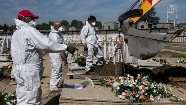 Работники кладбища в Турине копают могилы для жертв Covid-19