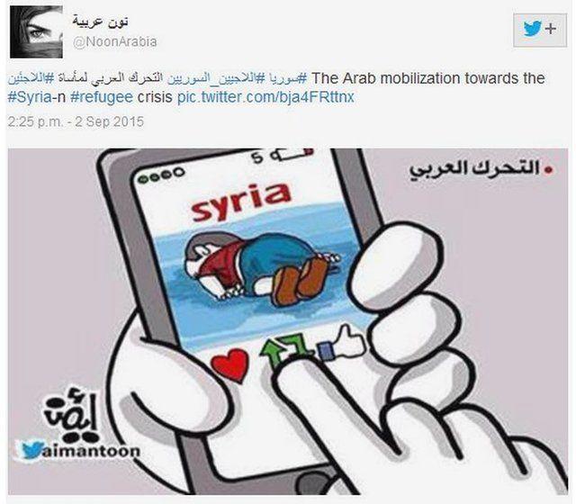 A cartoon showing someone retweeting the image of Aylan Kurdi's body