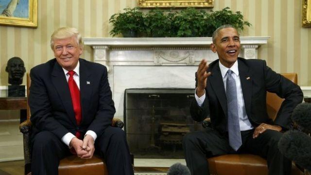 Barack Obama da Donald Trump a ganawarsu ta farko