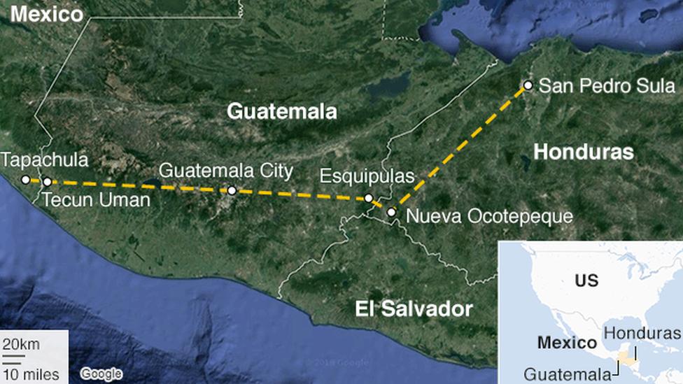 Mapa mostra a rota da caravana de imigrantes