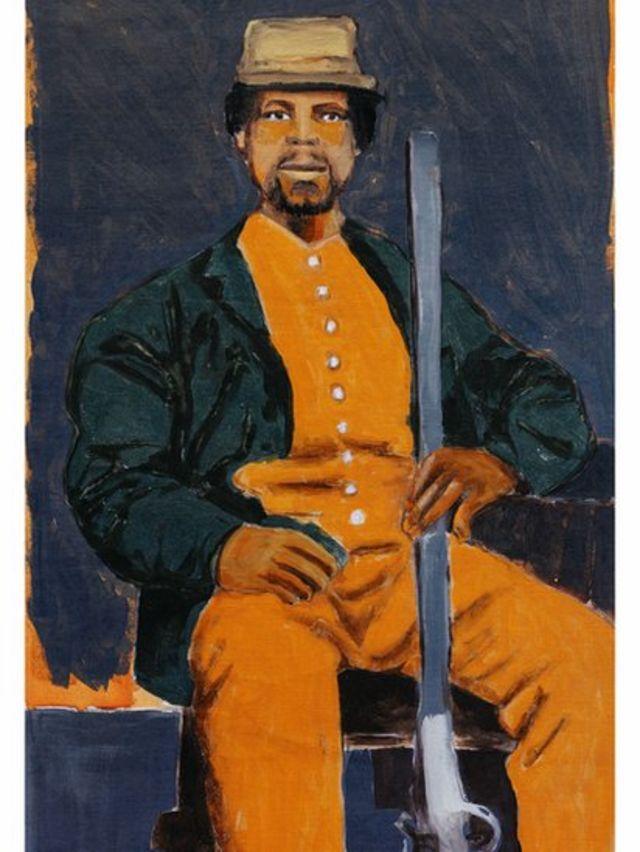Pintura em homenagem a Mundrucu feita em 2020 pelo artista Moisés Patrício para o livro Enciclopédia Negra