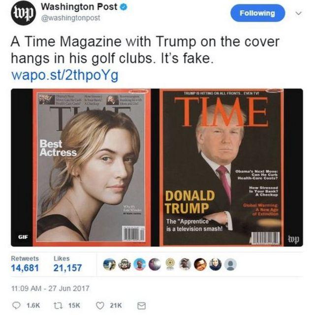 Una portada de la revista Time con Trump colgada en uno de los clubes de golf.