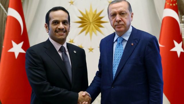 President Recep Tayyip Erdogan (R) shakes hands with Qatari Foreign Minister Sheikh Mohammed bin Abdulrahman bin Jassim al-Thani at the presidential palace in Ankara on July 14 2017