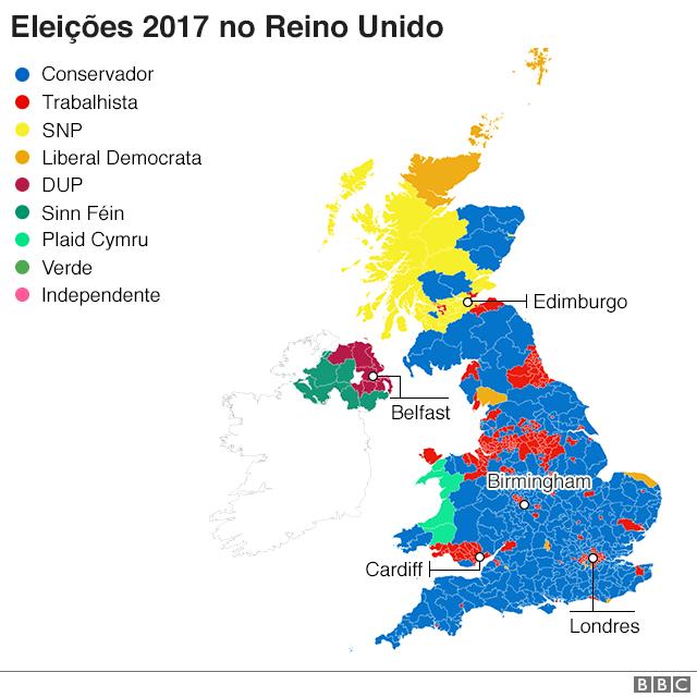 Mapa das eleições 2017 no Reino Unido