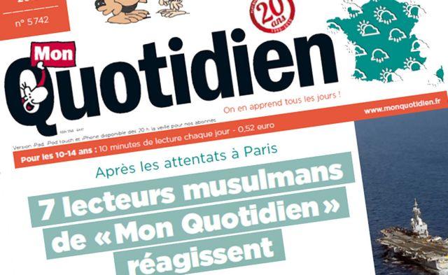 「ムスリムの読者7人がパリ襲撃について思い語る」という「Mon Quotidien」紙の見出し