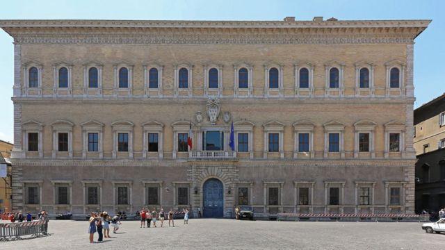 Fachada do Palazzo Farnese, onde Cristina viveu em Roma