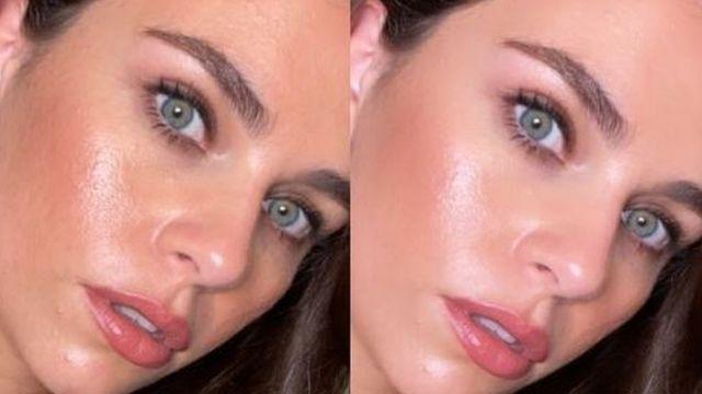 صورتين للعارضة ساشا بالاري، إحداهما باستخدام الفيلتر وأخرى بدونه