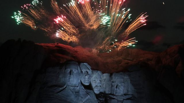 A fireworks display over Mount Rushmore