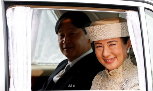 Japan's Crown Prince Naruhito and Crown Princess Masako arrive at the Imperial Palace for the abdication ceremony on 30 April