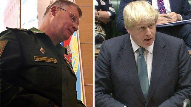 Composite photo of Foreign Secretary Boris Johnson and Russia's Defence Ministry spokesman