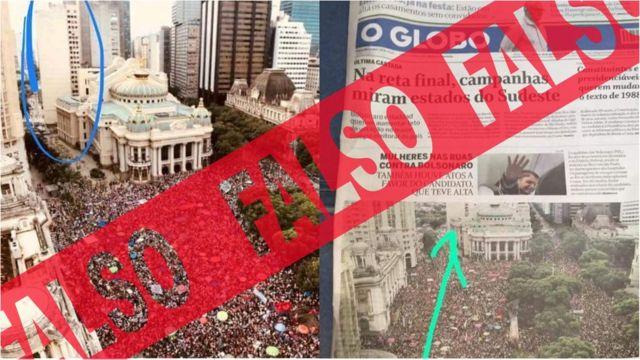 Capa do jornal O Globo e foto circulando edifício que teria caído - A capa do jornal O Globo é verdadeira; falsa é a versão de que a foto do jornal estava incorreta