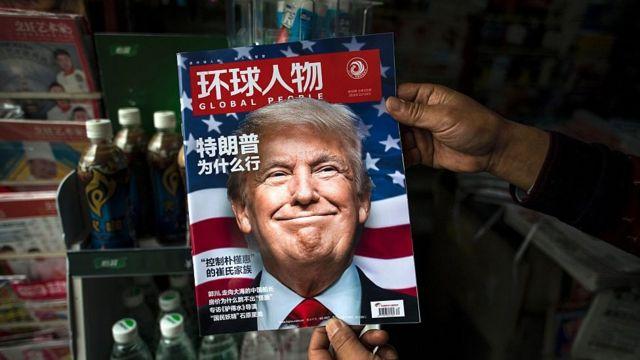Revista en mandarín con Trump en la portada.