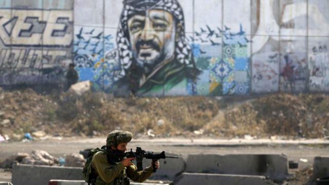 Soldado pasa frente a un mural con el rostro de Arafat