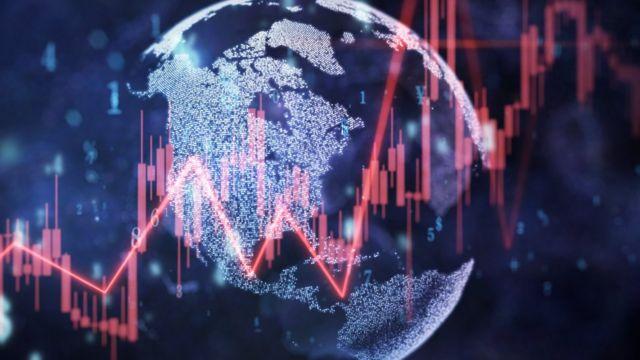 Gráfico do planeta com tendências econômicas