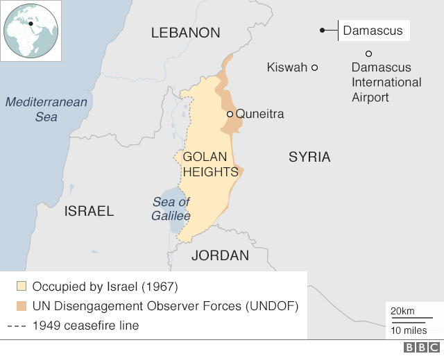 Map showing Israel, Syria and the Golan Heights