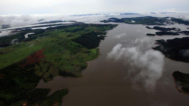 Localidade da Amazônia vista de cima