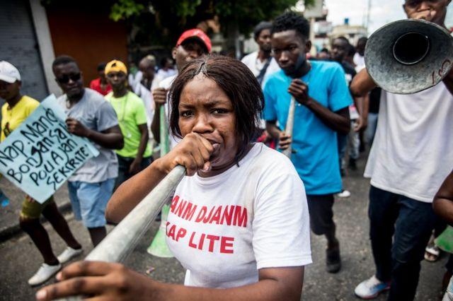 A protester in Haiti