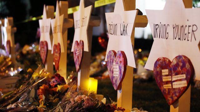 Conmemoración para las víctimas del tiroteo en una sinagoga de Pittsburgh.