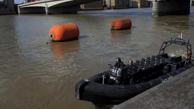Police patrol boat on the Thames