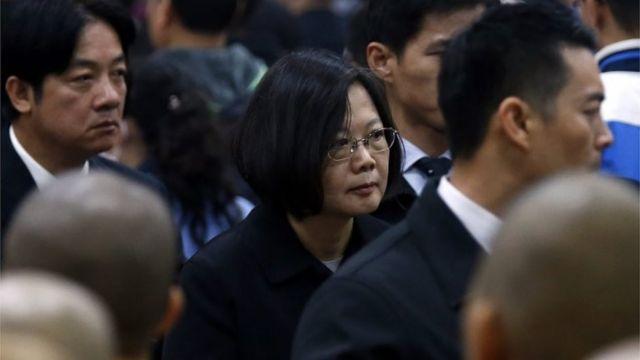 追悼式に出席した蔡次期総統