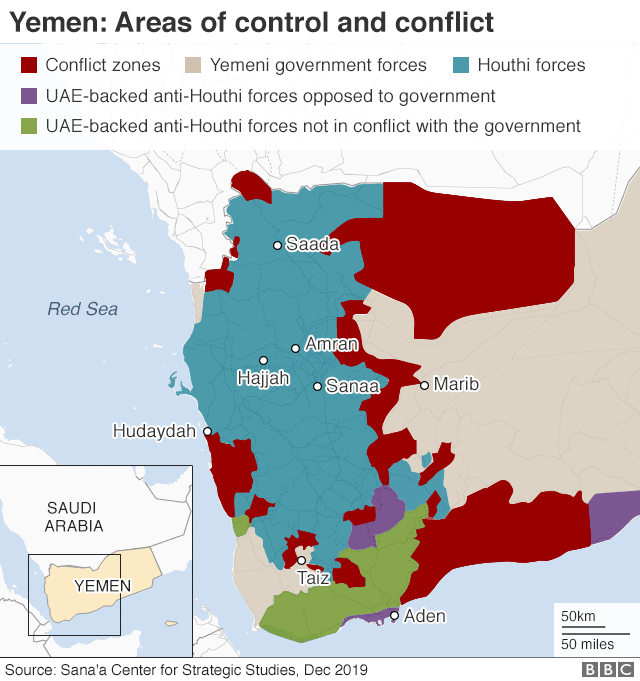 Map of Yemen showing areas of conflict and control (December 2019)