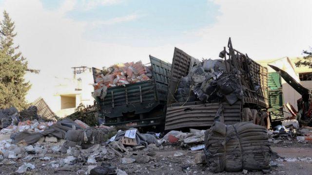 19日の攻撃で20人が死亡、人道支援のトラック18台が破壊された