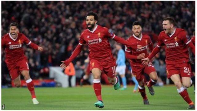 Wachezaji wa Liverpool wakishangilia ushindi