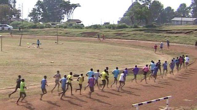 Kenyan athletes training