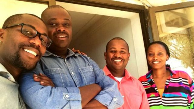 Bamwe mu bagize ikipe ya BBC i Kigali. Kuva i bumoso: Prudent Nsengiyumva, Yves Bucyana, Jean Claude Mwambutsa, Yvette Kabatesi