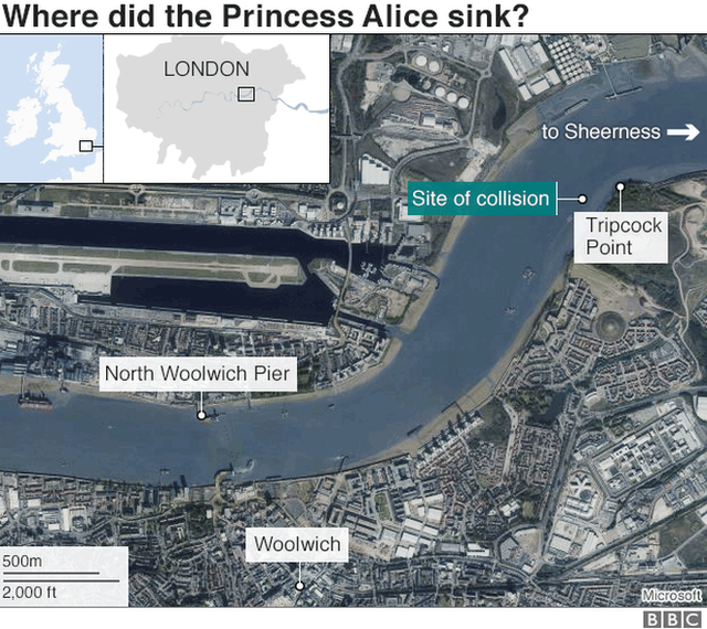 Diagram of where the Princess Alice sank