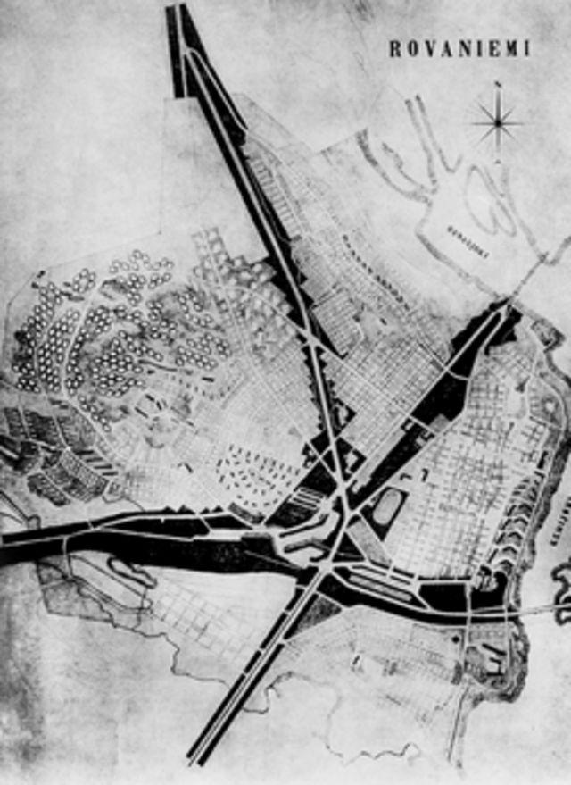 Plano piloto da cidade, em forma de cabeça de Rena