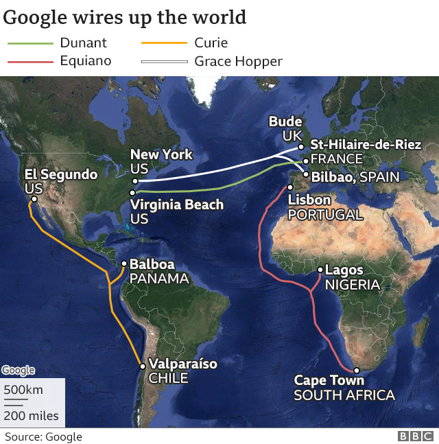 Map showing Google subsea cables