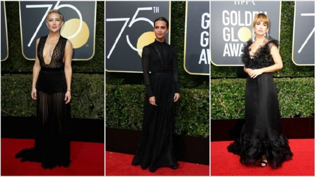 Kate Hudson was joined in wearing black by Swedish actress Alicia Vikander and Downton Abbey star Lily James