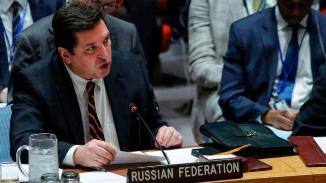 俄羅斯常駐聯合國副代表薩夫龍科夫(Vladimir Safronkov)在安理會會議上發言(12/4/2017)