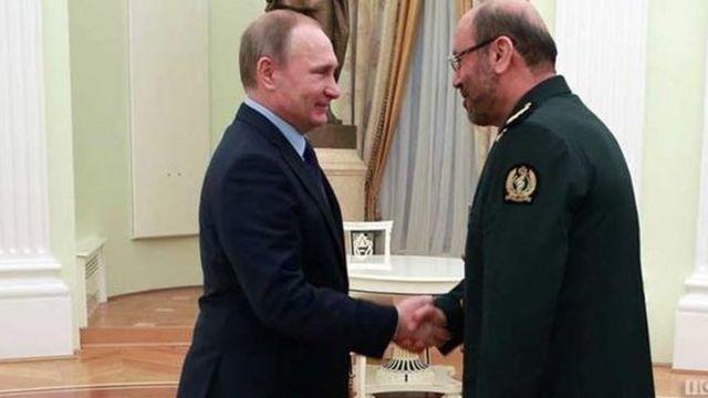 محمد دهقان مشاور نظامی آیت الله علی خامنه ای و ولادیمیر پوتین رئیس جمهور روسیه در ملاقاتی در مسکو پس از توافق اتمی برجام