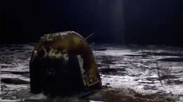 嫦娥五號返回器降落在雪原