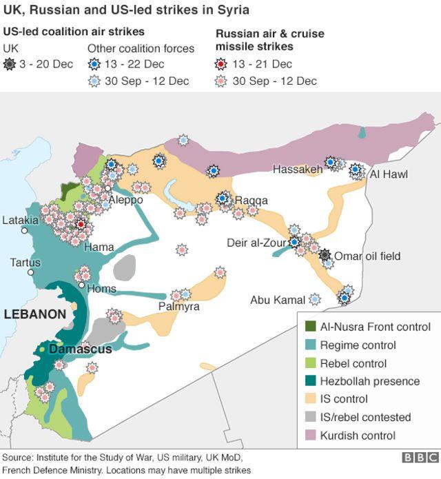 ロシアによるシリア空爆箇所は赤とピンク、英国は黒、英以外の有志連合による空爆は青と水色