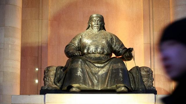 The statue of Kublai Khan in Ulan Bator, Mongolia