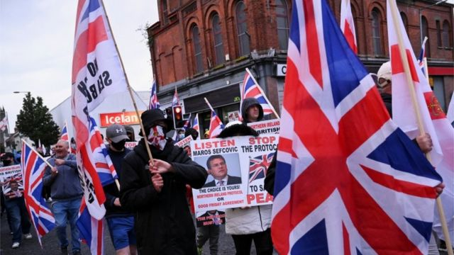 A street protest in Belfast against the NI Protocol