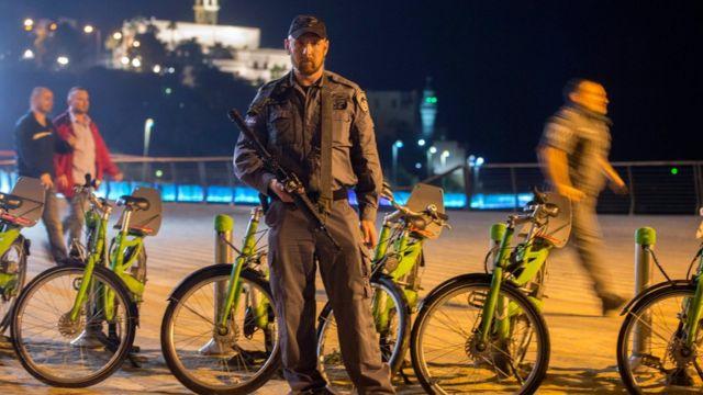 襲撃事件のあったイスラエル・ジャッファの港湾地区(8日)
