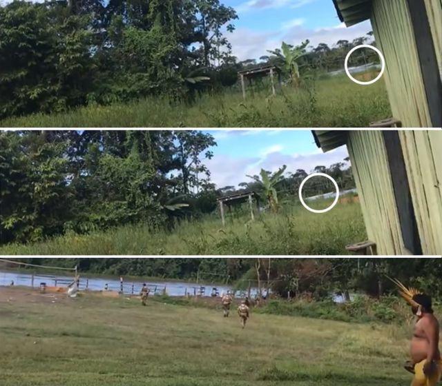 Colagem com três cenas de vídeo mostra barco no rio e policiais correndo em sua direção