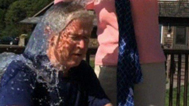 George Bush doing the Ice Bucket Challenge