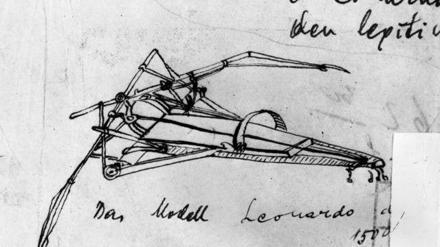 Diseño de una máquina para volar de Leonardo