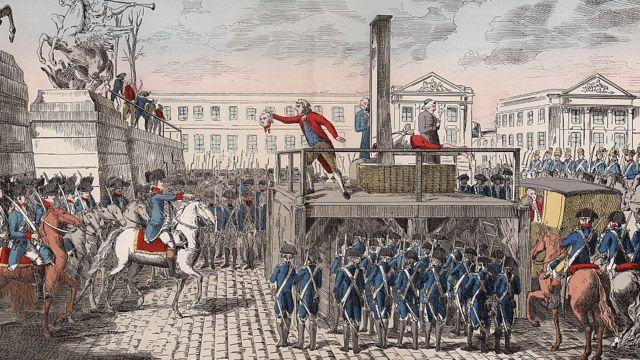 Ejecución de Luis XVI, rey de Francia, en la Plaza de la Revolución, hoy Plaza de la Concordia, en París, Francia, el 21 de enero de 1793.