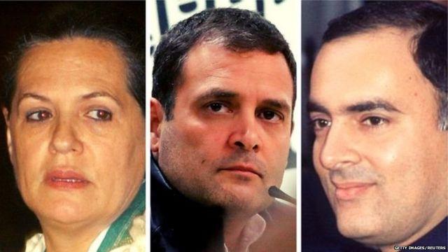 सोनिया गांधी, राहलु गांधी और राजीव गांधी