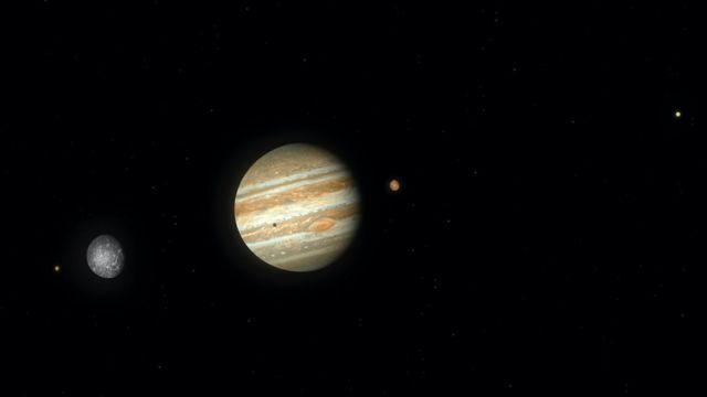 Soldan sağa: Io, Callisto, Jüpiter, Ganymede (Jüpiter üzerinde gölgesi görünüyor) ve Europa.