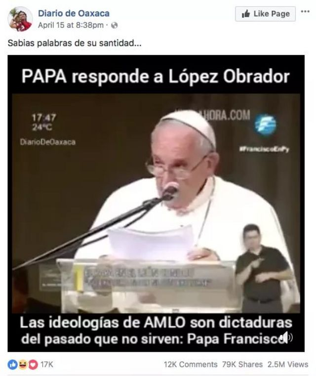 Una imagen de un post de Facebook con información falsa sobre el papa Francisco