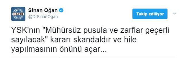 Sinan Oğan tweet