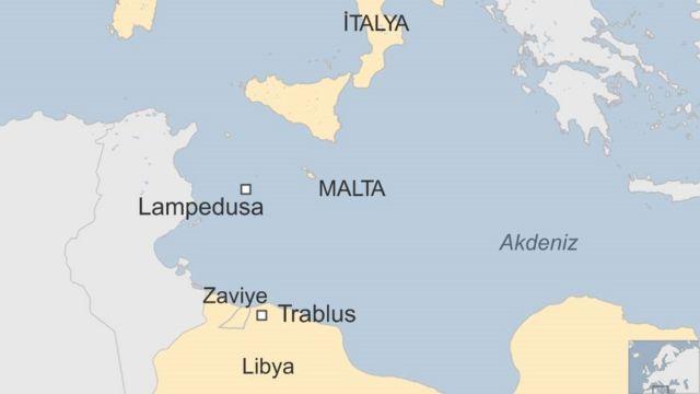 Harita: Zaviye'den İtalya'ya